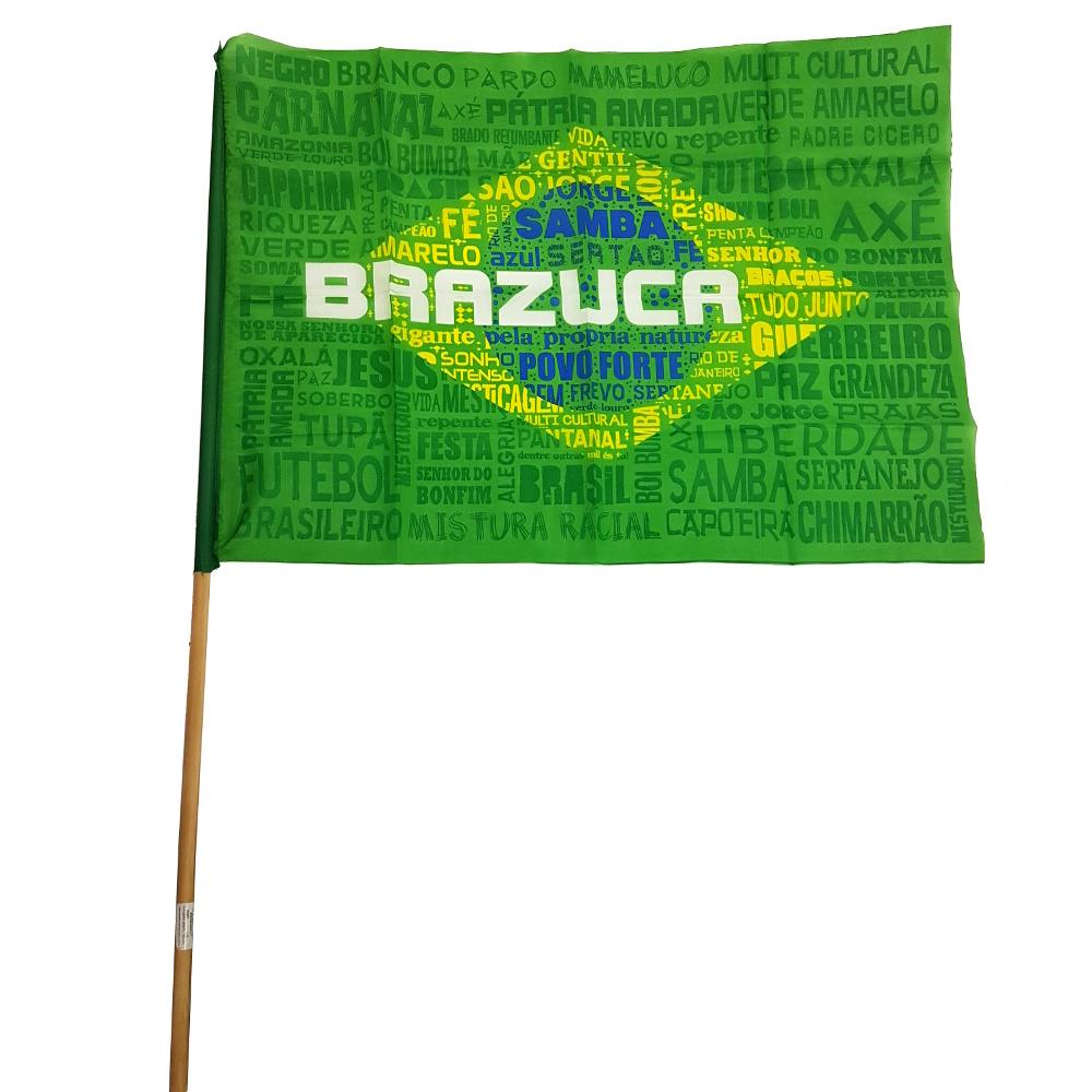 BANDEIRA BRASIL TECIDO 50X70 COM CABO TORCIDA BRAZUCA - DOLLAR BRASIL Ref   35945 b718615a2c8