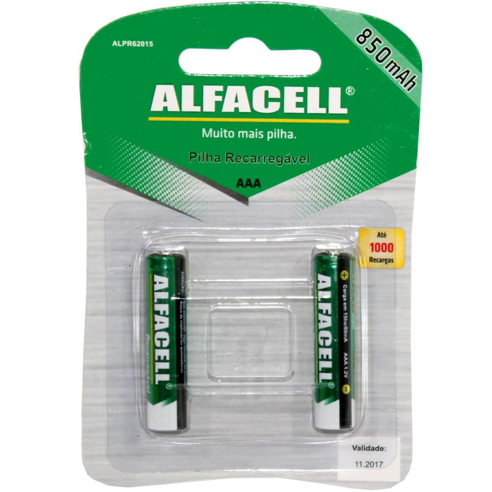 PILHA PALITO RECARR.ALFACELL 850MAH CART.C/2 IMPORIENTE IMPO... Ref: 40994